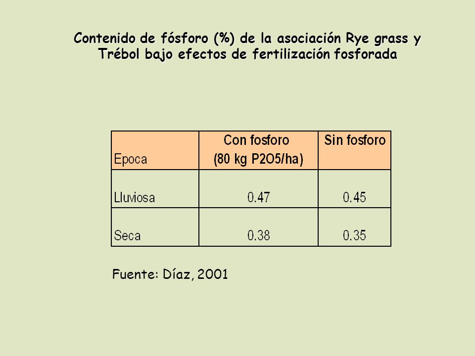 Contenido de fósforo (%) de la asociación Rye grass y Trébol bajo efectos de fertilización fosforada