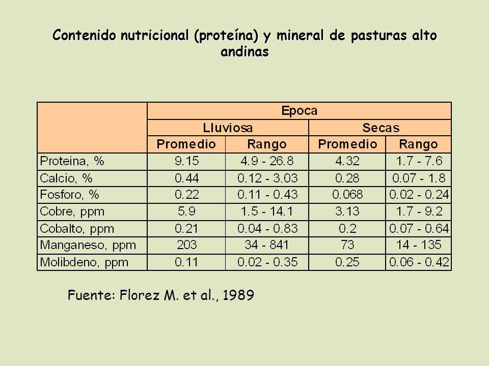Contenido nutricional (proteína) y mineral de pasturas alto andinas