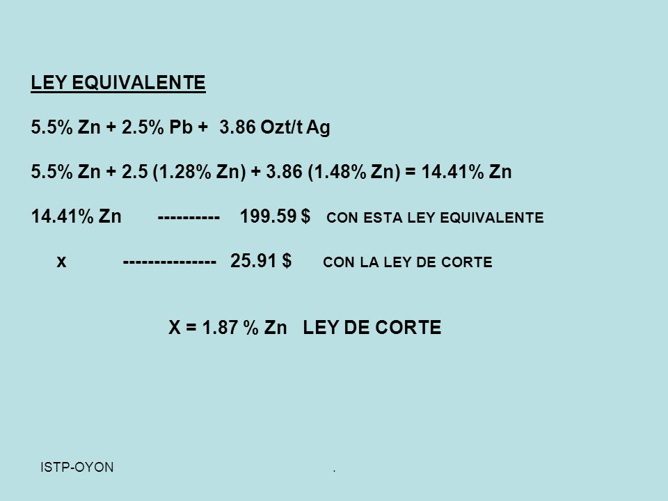 14.41% Zn ---------- 199.59 $ CON ESTA LEY EQUIVALENTE
