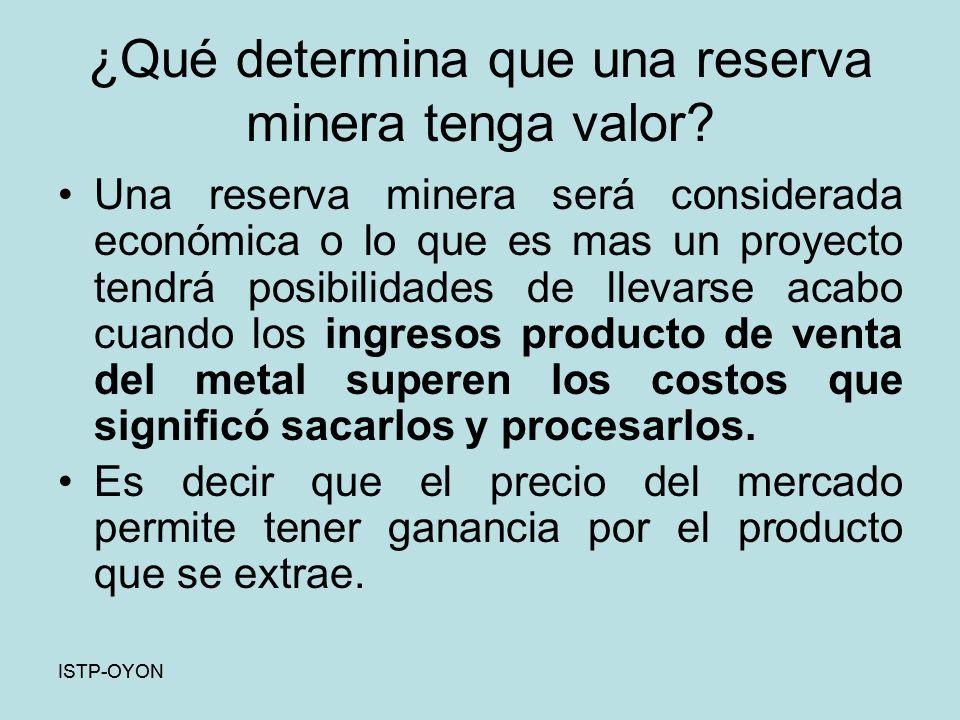 ¿Qué determina que una reserva minera tenga valor