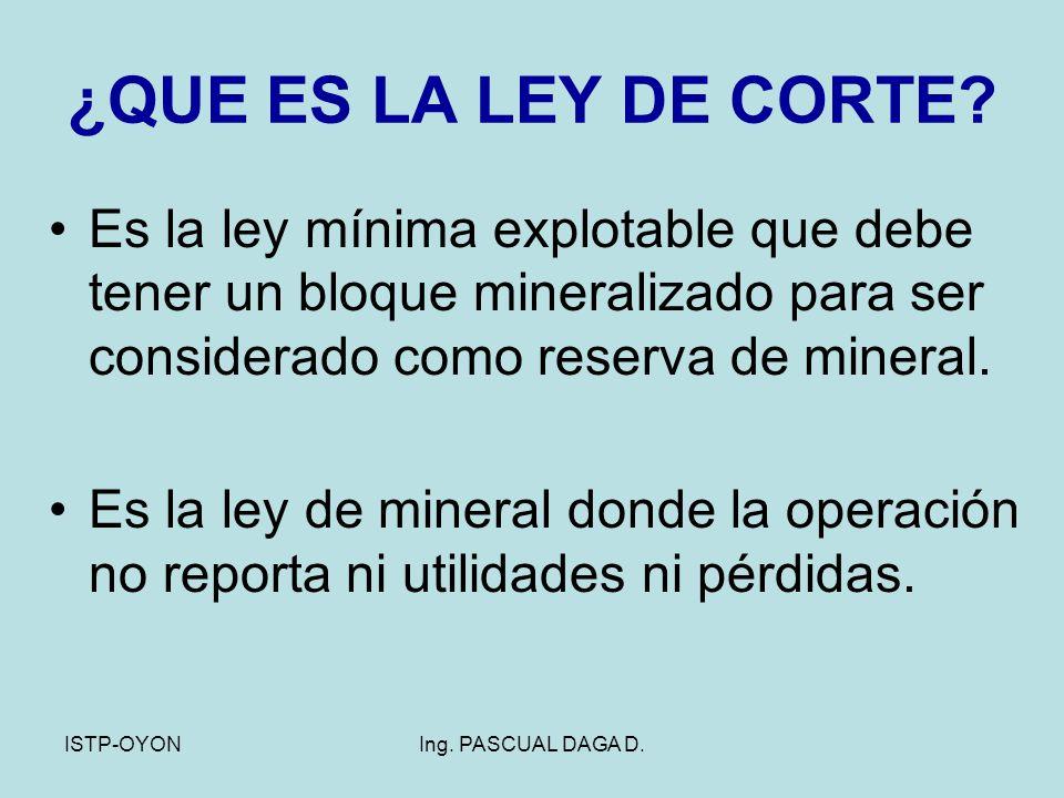 ¿QUE ES LA LEY DE CORTE Es la ley mínima explotable que debe tener un bloque mineralizado para ser considerado como reserva de mineral.