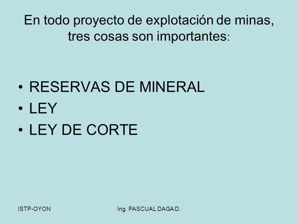 En todo proyecto de explotación de minas, tres cosas son importantes: