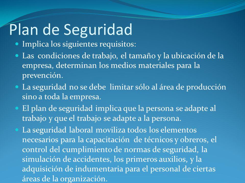 Plan de Seguridad Implica los siguientes requisitos: