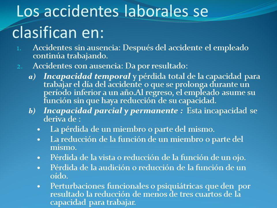 Los accidentes laborales se clasifican en: