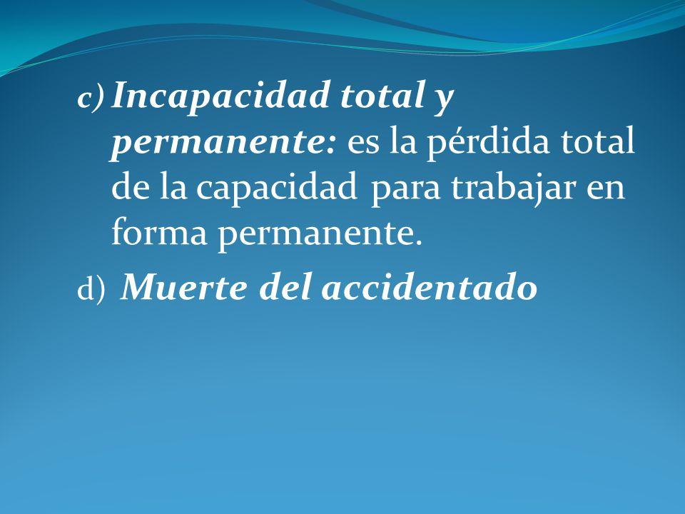 Incapacidad total y permanente: es la pérdida total de la capacidad para trabajar en forma permanente.