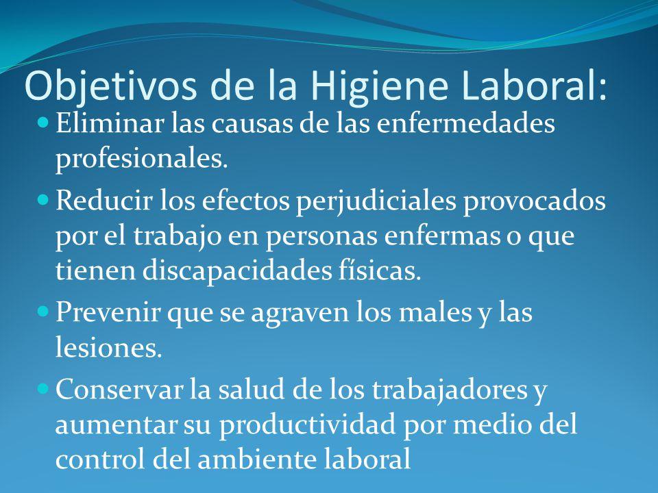 Objetivos de la Higiene Laboral: