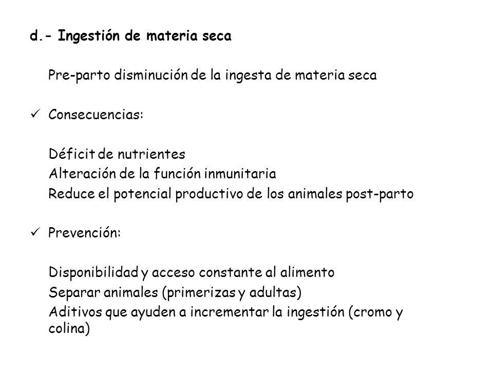 d.- Ingestión de materia seca