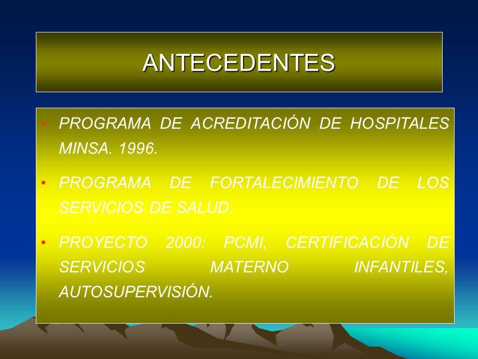 ANTECEDENTES PROGRAMA DE ACREDITACIÓN DE HOSPITALES MINSA. 1996.