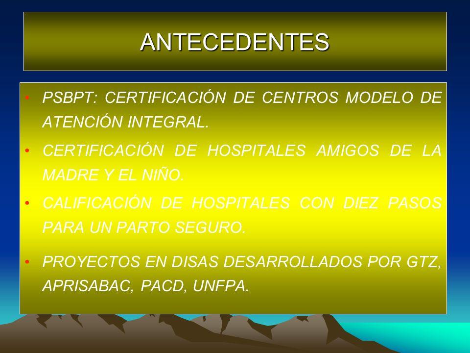 ANTECEDENTES PSBPT: CERTIFICACIÓN DE CENTROS MODELO DE ATENCIÓN INTEGRAL. CERTIFICACIÓN DE HOSPITALES AMIGOS DE LA MADRE Y EL NIÑO.