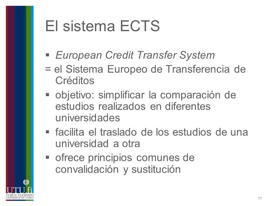 El sistema ECTS European Credit Transfer System