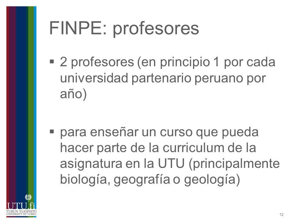 FINPE: profesores 2 profesores (en principio 1 por cada universidad partenario peruano por año)