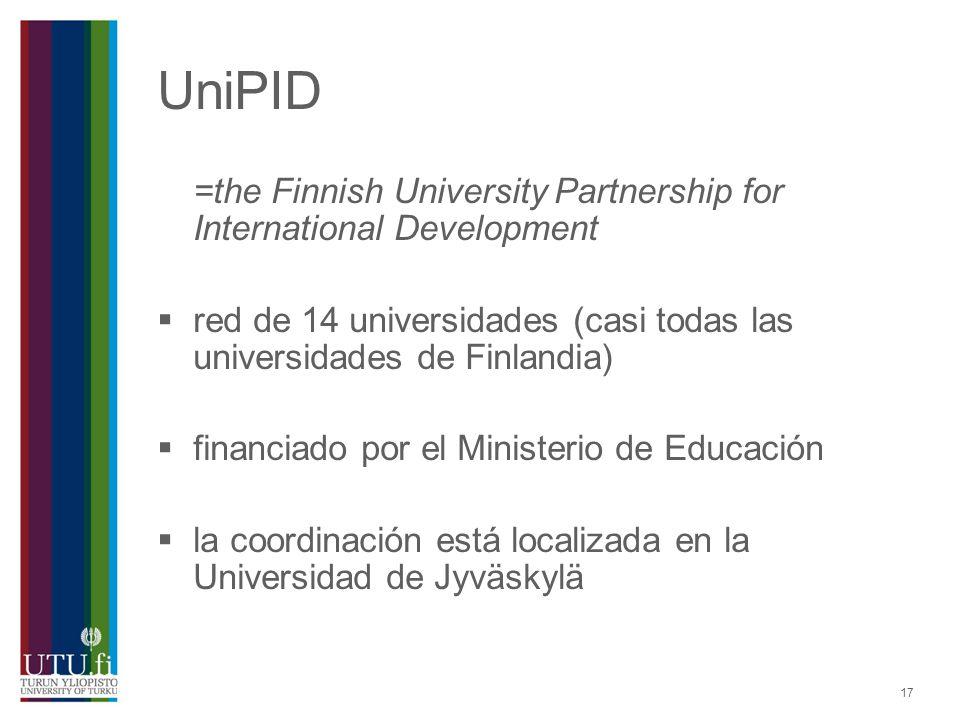 UniPID =the Finnish University Partnership for International Development. red de 14 universidades (casi todas las universidades de Finlandia)