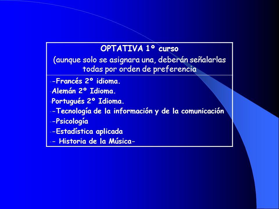 OPTATIVA 1º curso(aunque solo se asignara una, deberán señalarlas todas por orden de preferencia. -Francés 2º idioma.