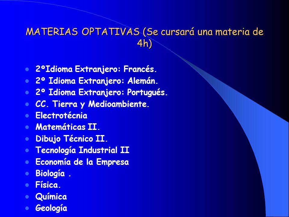 MATERIAS OPTATIVAS (Se cursará una materia de 4h)