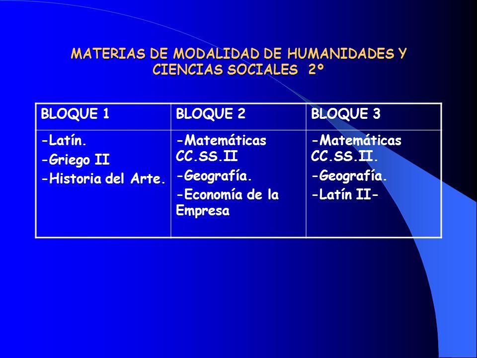 MATERIAS DE MODALIDAD DE HUMANIDADES Y CIENCIAS SOCIALES 2º