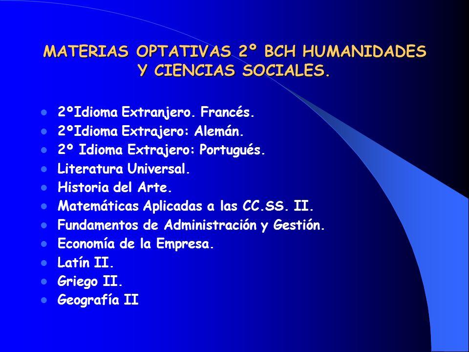 MATERIAS OPTATIVAS 2º BCH HUMANIDADES Y CIENCIAS SOCIALES.