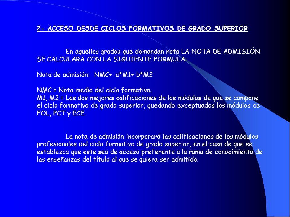 2- ACCESO DESDE CICLOS FORMATIVOS DE GRADO SUPERIOR