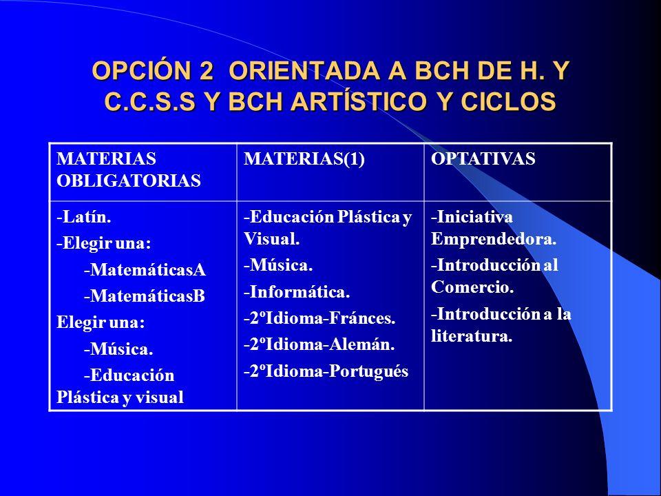 OPCIÓN 2 ORIENTADA A BCH DE H. Y C.C.S.S Y BCH ARTÍSTICO Y CICLOS
