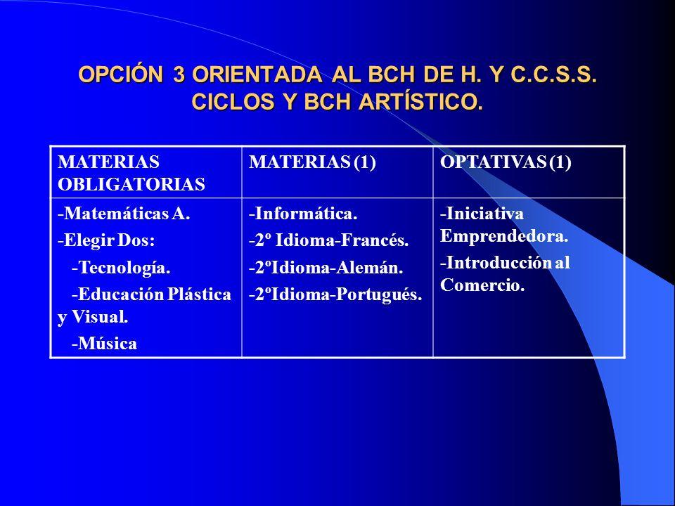 OPCIÓN 3 ORIENTADA AL BCH DE H. Y C.C.S.S. CICLOS Y BCH ARTÍSTICO.