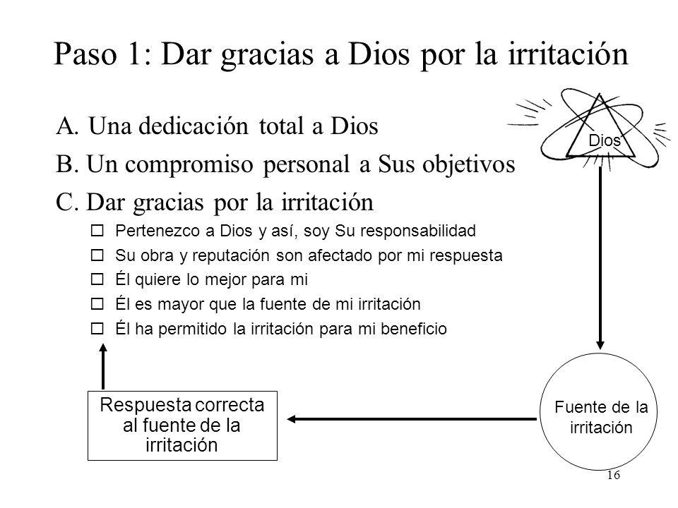 Paso 1: Dar gracias a Dios por la irritación