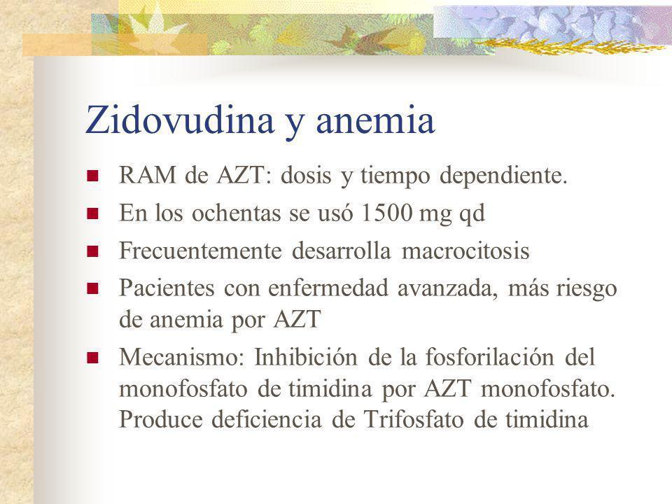 Zidovudina y anemia RAM de AZT: dosis y tiempo dependiente.