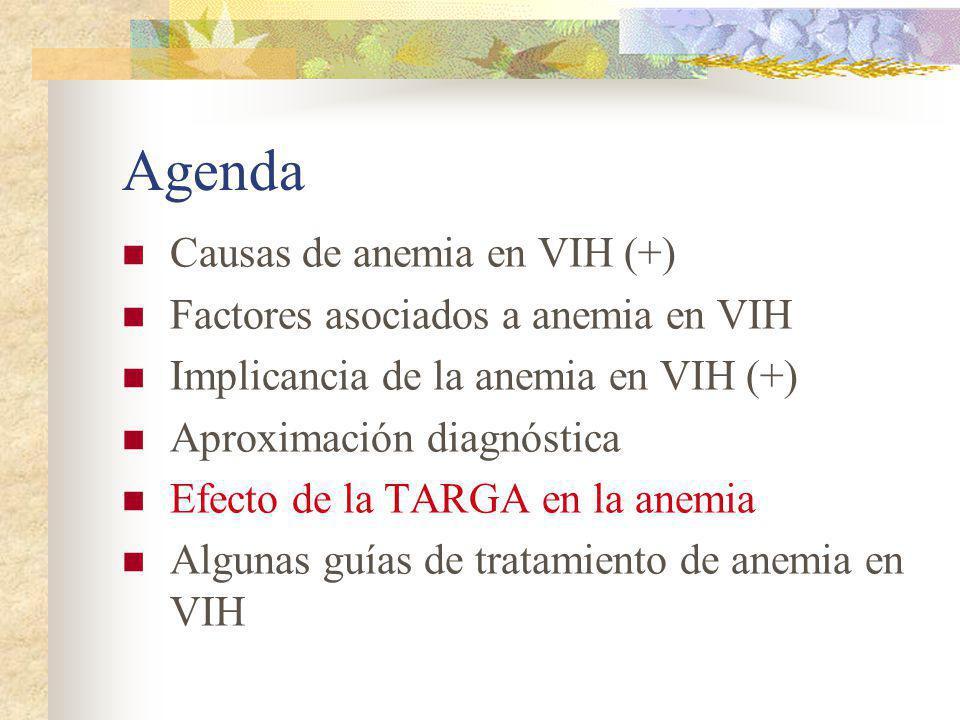 Agenda Causas de anemia en VIH (+) Factores asociados a anemia en VIH