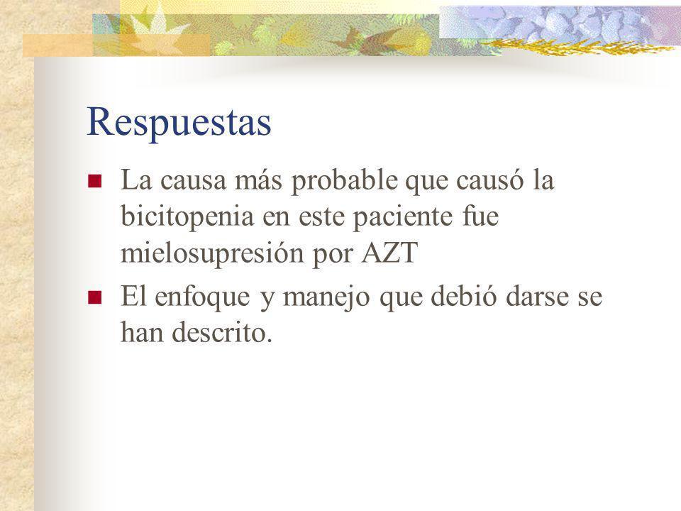 Respuestas La causa más probable que causó la bicitopenia en este paciente fue mielosupresión por AZT.
