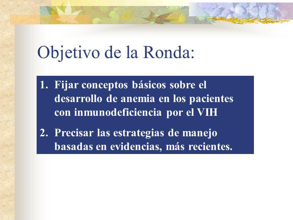 Objetivo de la Ronda: Fijar conceptos básicos sobre el desarrollo de anemia en los pacientes con inmunodeficiencia por el VIH.