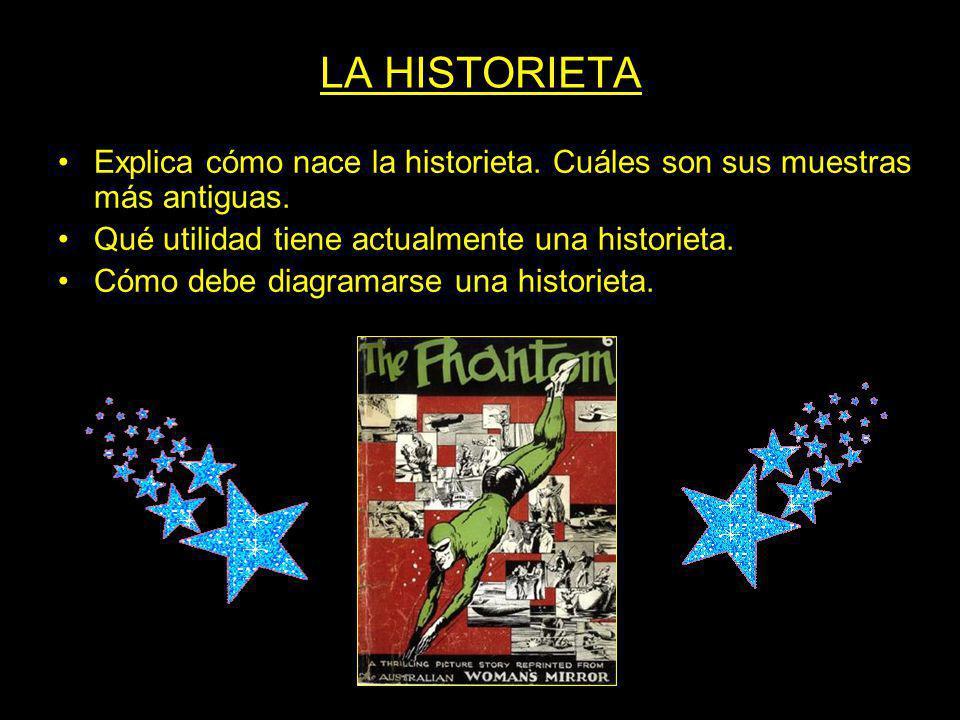 LA HISTORIETA Explica cómo nace la historieta. Cuáles son sus muestras más antiguas. Qué utilidad tiene actualmente una historieta.