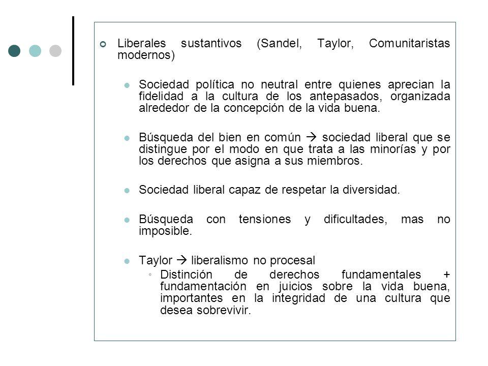 Liberales sustantivos (Sandel, Taylor, Comunitaristas modernos)