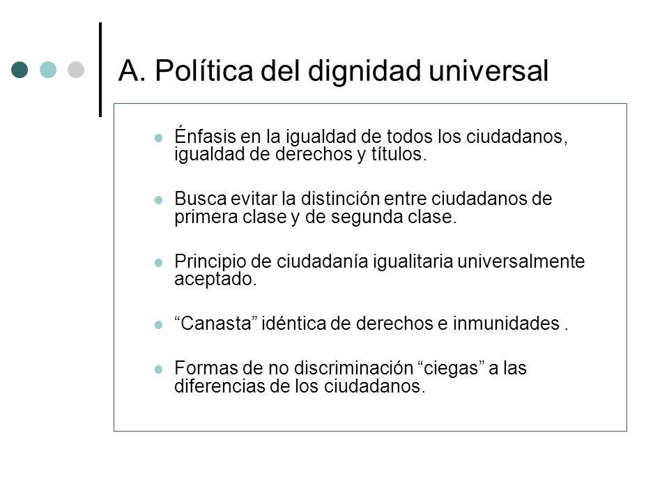 A. Política del dignidad universal