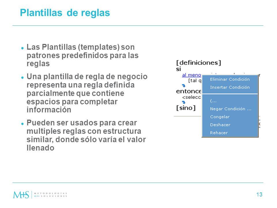 Plantillas de reglas Las Plantillas (templates) son patrones predefinidos para las reglas.