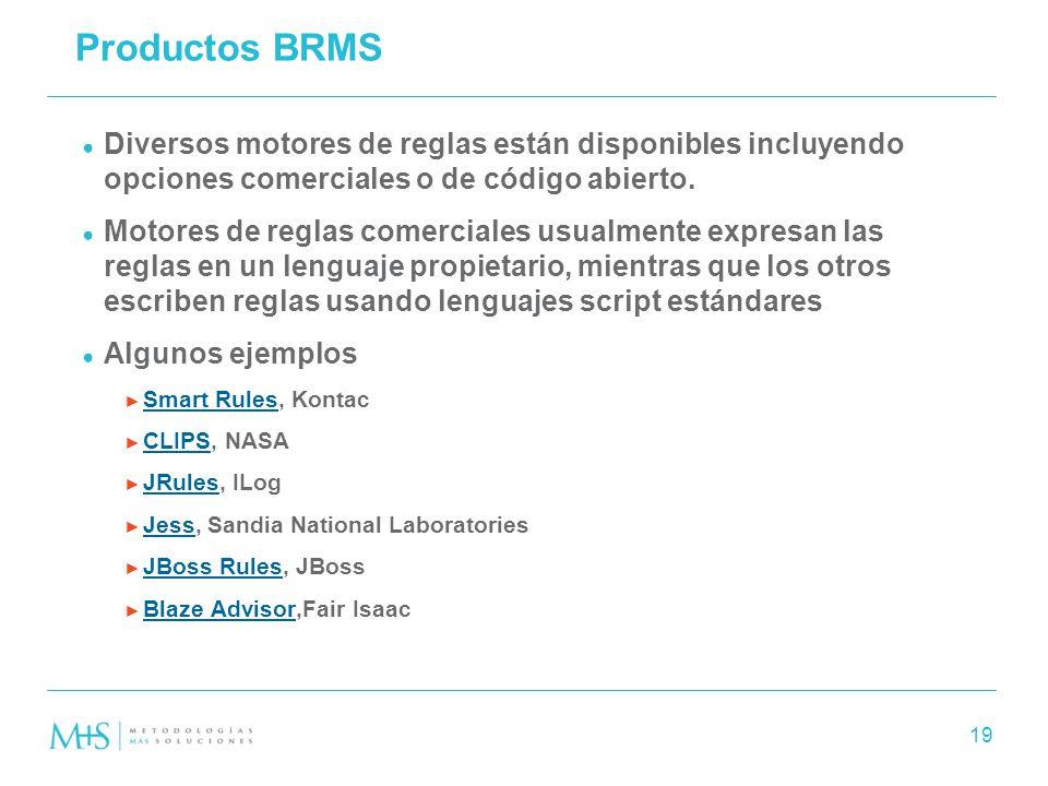 Productos BRMS Diversos motores de reglas están disponibles incluyendo opciones comerciales o de código abierto.