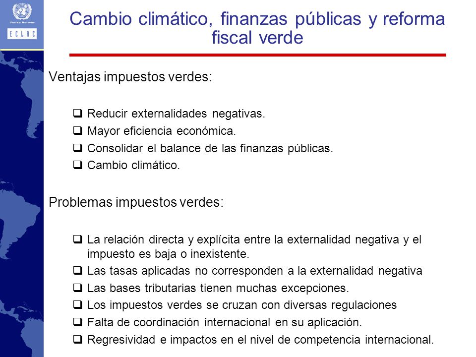 Cambio climático, finanzas públicas y reforma fiscal verde