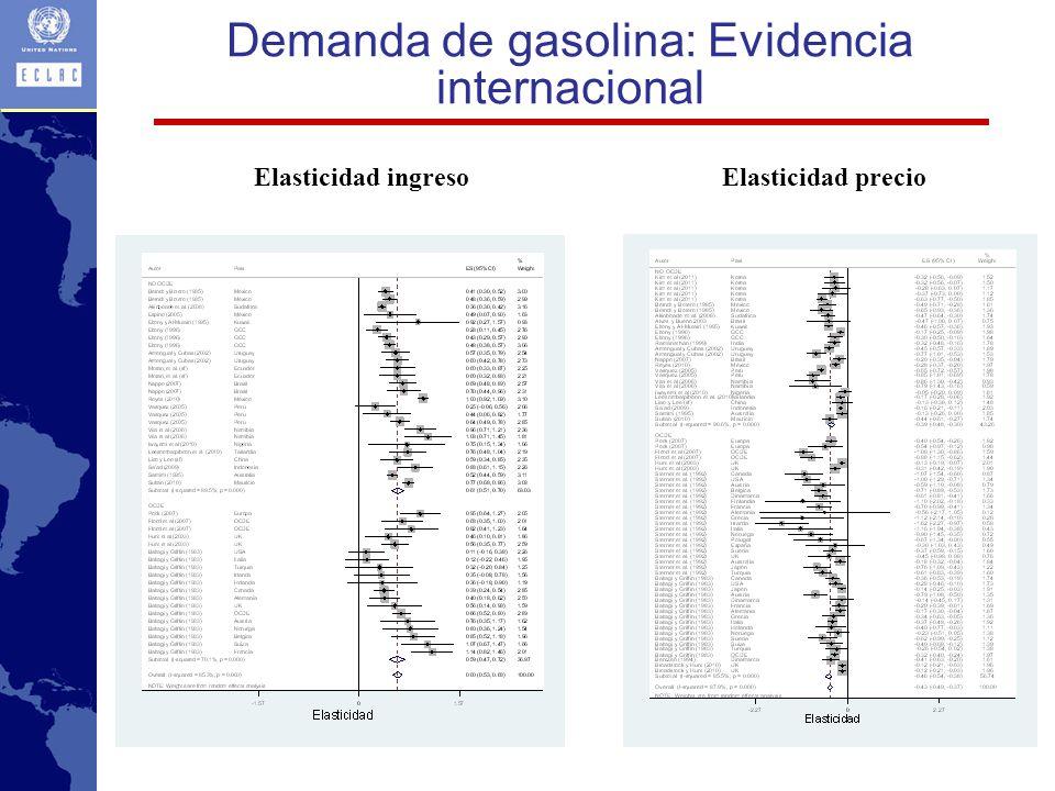 Demanda de gasolina: Evidencia internacional