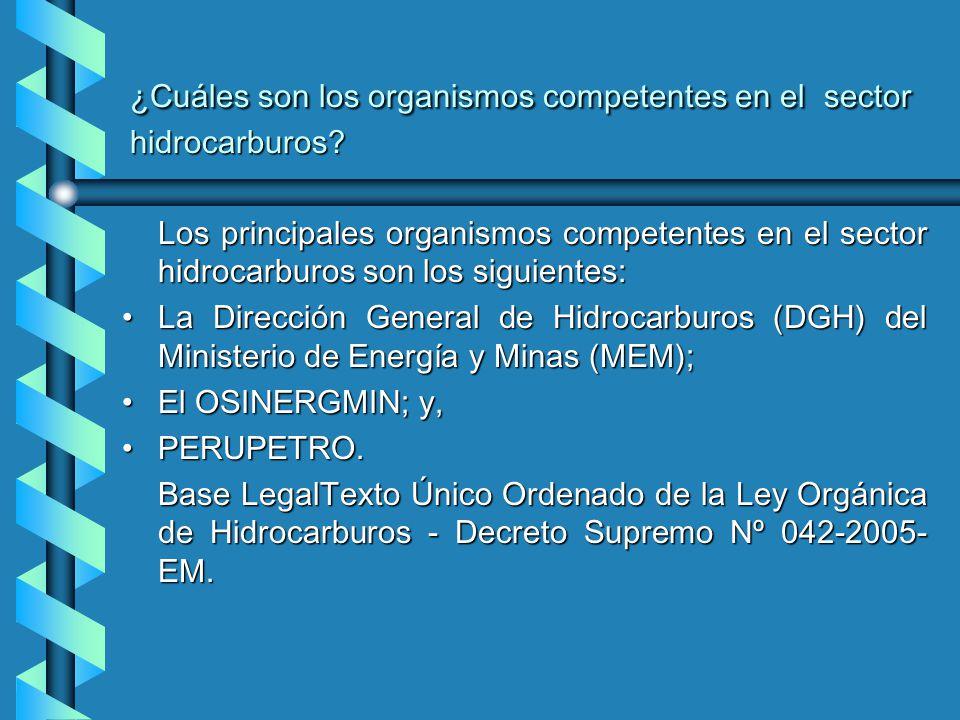 ¿Cuáles son los organismos competentes en el sector hidrocarburos