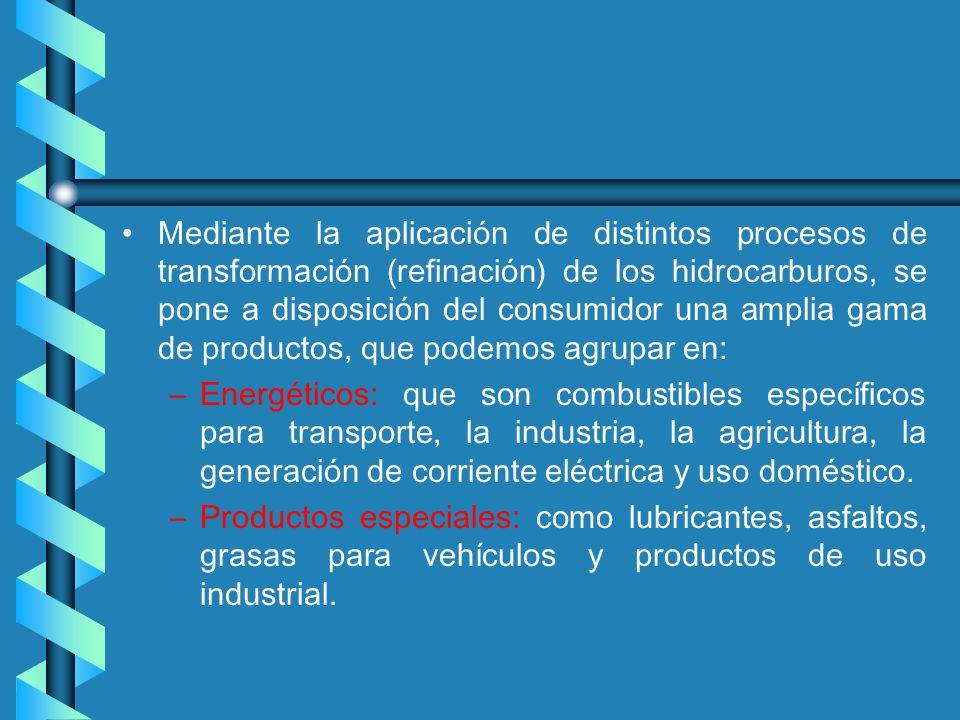 Mediante la aplicación de distintos procesos de transformación (refinación) de los hidrocarburos, se pone a disposición del consumidor una amplia gama de productos, que podemos agrupar en: