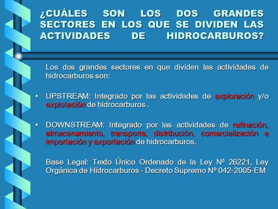¿CUÁLES SON LOS DOS GRANDES SECTORES EN LOS QUE SE DIVIDEN LAS ACTIVIDADES DE HIDROCARBUROS
