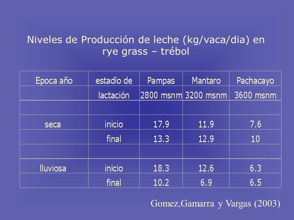 Niveles de Producción de leche (kg/vaca/dia) en rye grass – trébol
