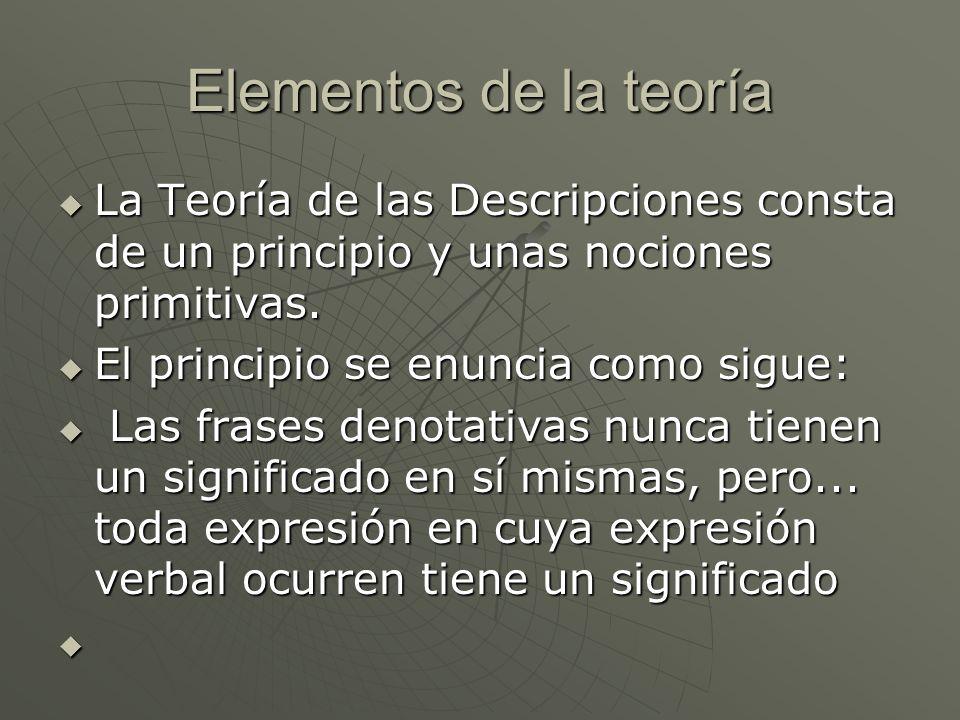 Elementos de la teoría La Teoría de las Descripciones consta de un principio y unas nociones primitivas.