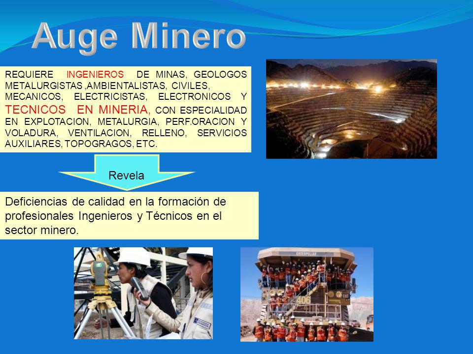 Auge Minero REQUIERE INGENIEROS DE MINAS, GEOLOGOS METALURGISTAS ,AMBIENTALISTAS, CIVILES,