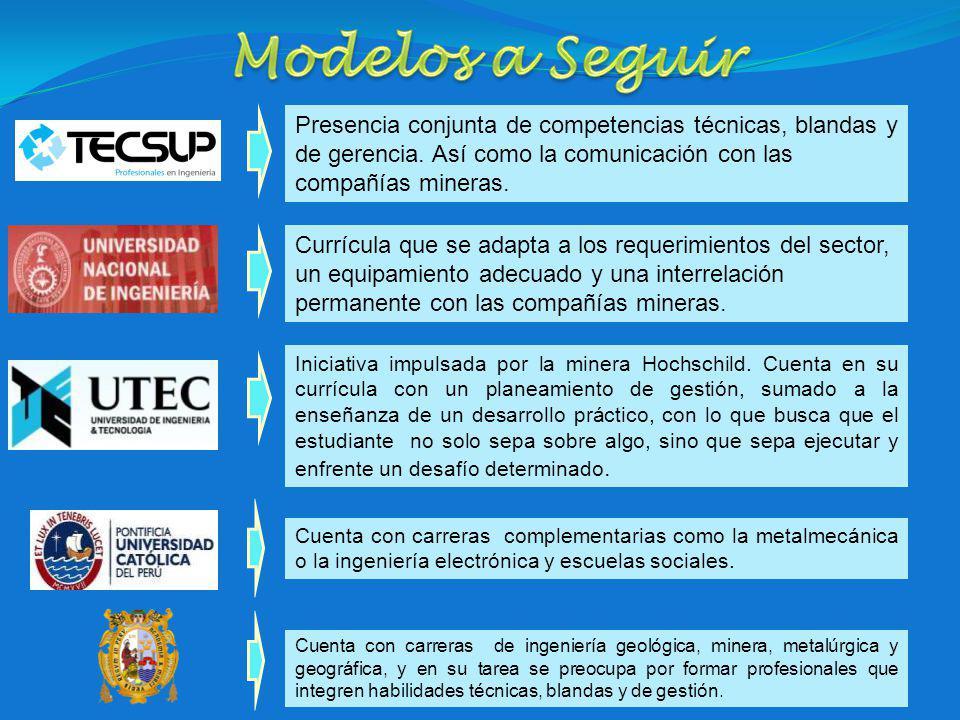 Modelos a Seguir Presencia conjunta de competencias técnicas, blandas y de gerencia. Así como la comunicación con las compañías mineras.