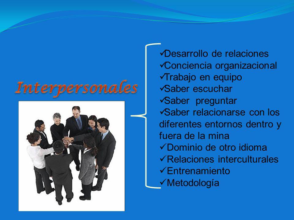 Interpersonales Desarrollo de relaciones Conciencia organizacional