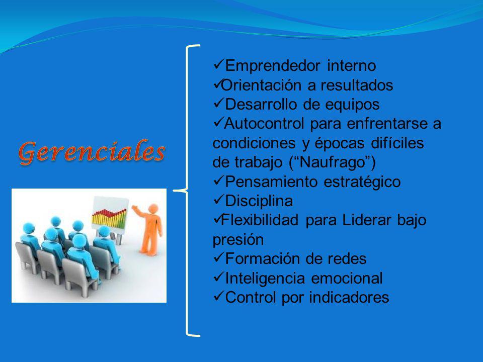 Gerenciales Emprendedor interno Orientación a resultados