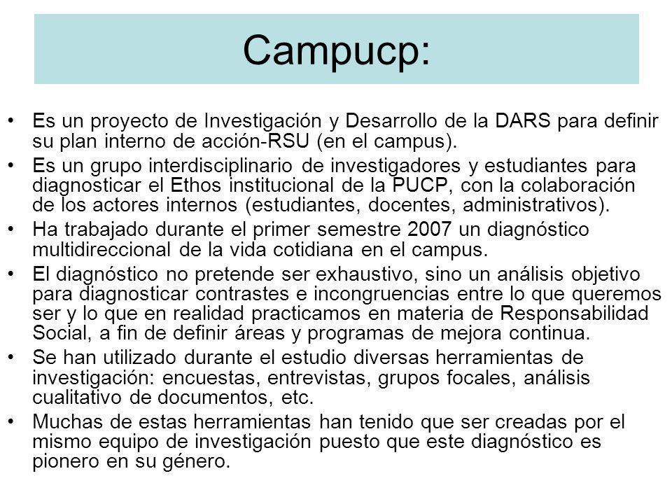 Campucp: Es un proyecto de Investigación y Desarrollo de la DARS para definir su plan interno de acción-RSU (en el campus).
