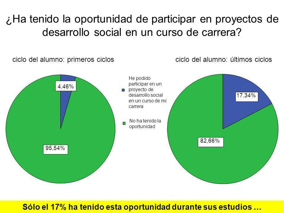 Sólo el 17% ha tenido esta oportunidad durante sus estudios …