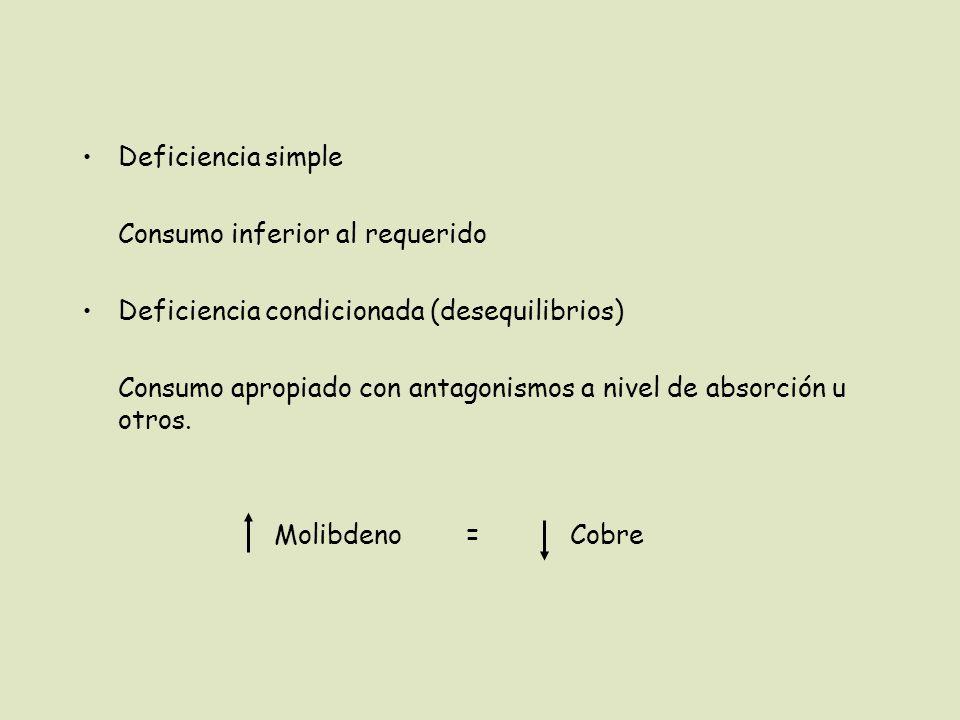 Deficiencia simple Consumo inferior al requerido. Deficiencia condicionada (desequilibrios)