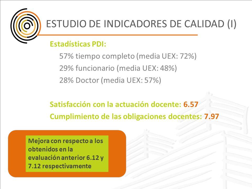ESTUDIO DE INDICADORES DE CALIDAD (I)