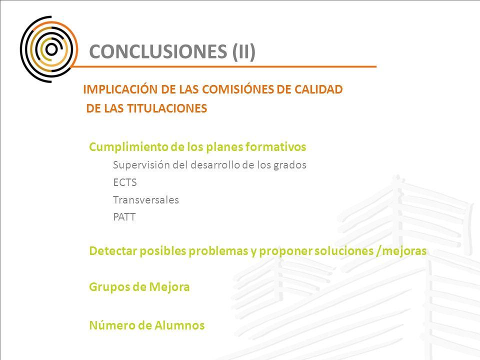 CONCLUSIONES (II) DE LAS TITULACIONES