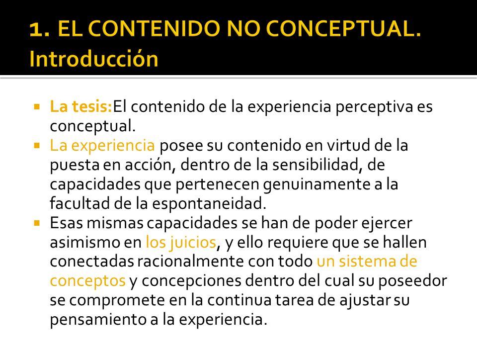1. EL CONTENIDO NO CONCEPTUAL. Introducción